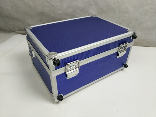 blue storage case with aluminum frame